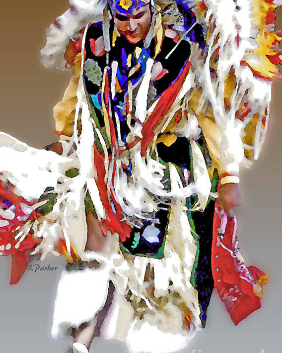 Abstract Poster featuring the photograph Floating Native Dancer by Linda Parker