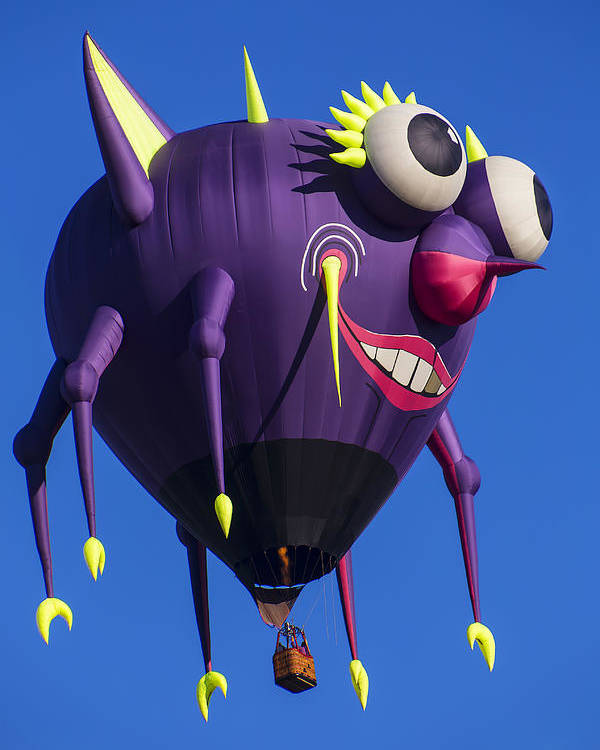 Purple People Eater Hot Air Balloon Poster featuring the photograph Floating Purple People Eater by Garry Gay