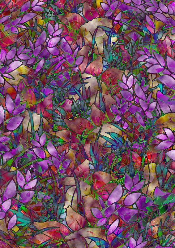 Art Poster featuring the glass art Floral Abstract Stained Glass by Medusa GraphicArt