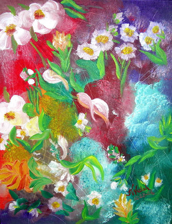 Abstract Poster featuring the painting Floral Fantasy by Kathern Welsh