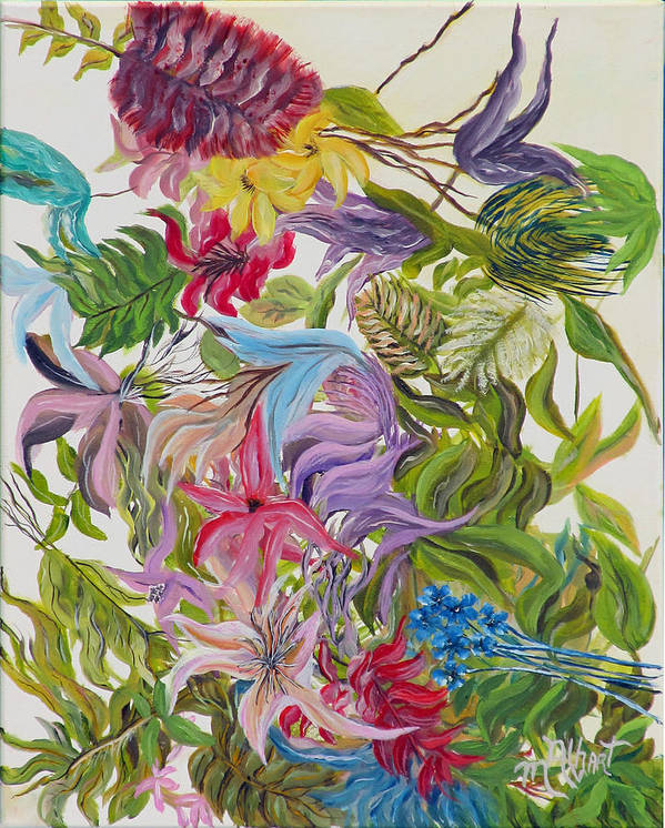 Floral Poster featuring the painting Floral Frenzy by Mikki Alhart