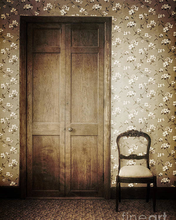Chair; Empty; Minimal; Dirty; Old; Vintage; Sepia; No One; Inside; Interior; Indoors; Foyer; Floor; Wall; Wood; Hall; Wallpaper; Door; Doorway; Closed; Still Life; Rug; Carpet; Floral; Pattern Poster featuring the photograph Floral Patterns by Margie Hurwich