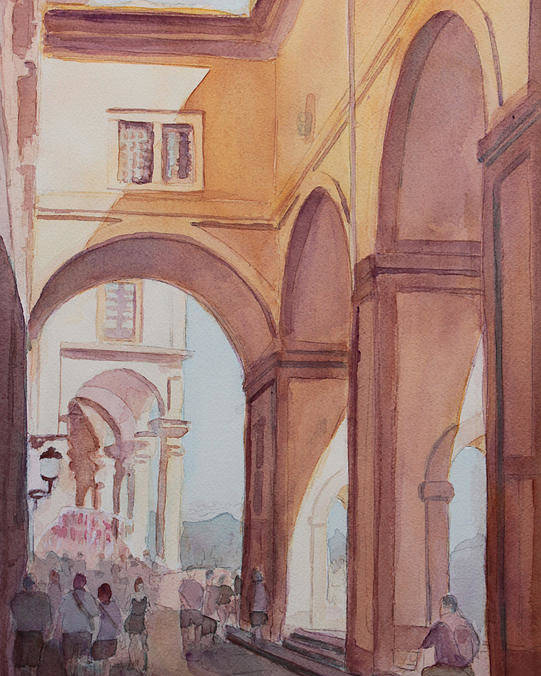 Florence Poster featuring the painting Florence Arcade by Jenny Armitage