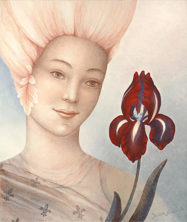 Flower Fairy Poster featuring the painting Flower Fairy by Judith Grzimek