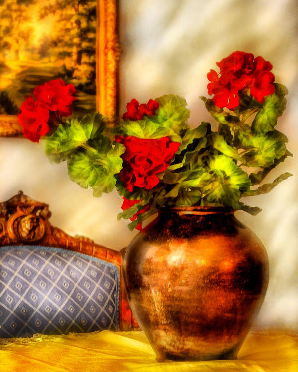 Savad Poster featuring the photograph Flower - Geraniums On A Table by Mike Savad