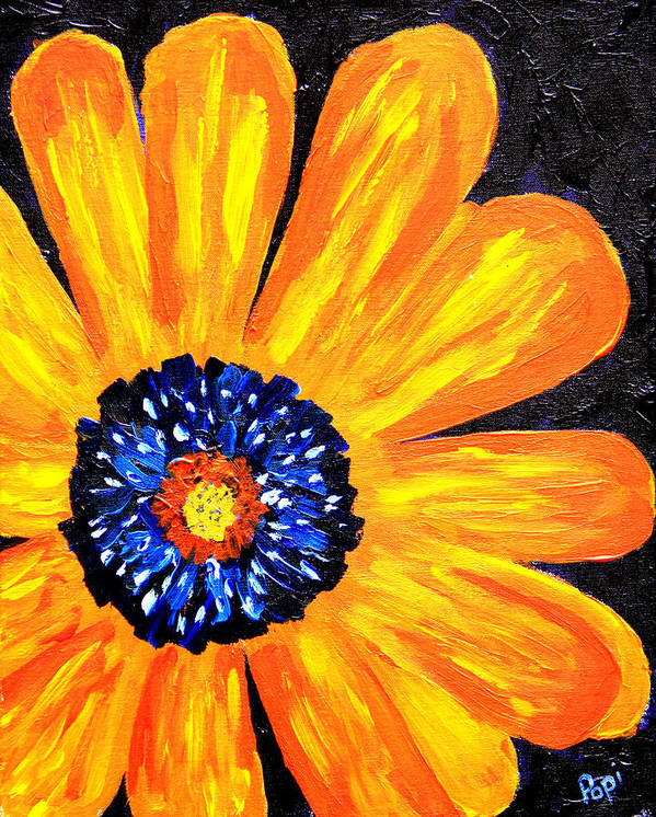 Yellow Poster featuring the painting Flower Power 2 by Paul Anderson