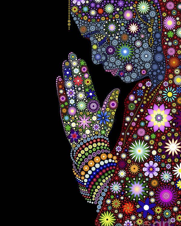 Flower Poster featuring the digital art Flower Prayer Girl by Tim Gainey