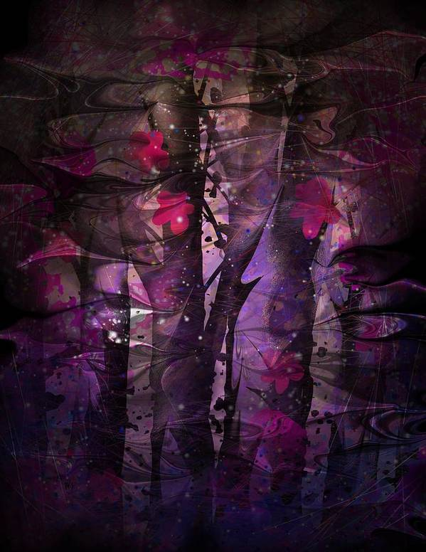 Flowers Poster featuring the digital art Flowers Among Thorns by Rachel Christine Nowicki