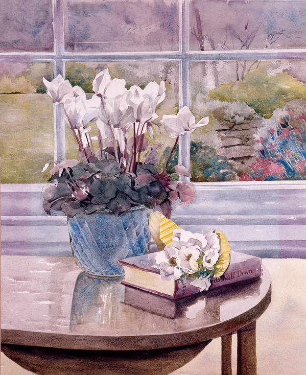 Book Poster featuring the photograph Flowers And Book On Table by Julia Rowntree