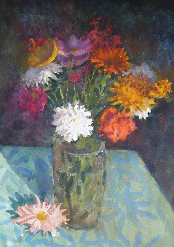 Flowers Poster featuring the painting Flowers And Glass by Terry Perham