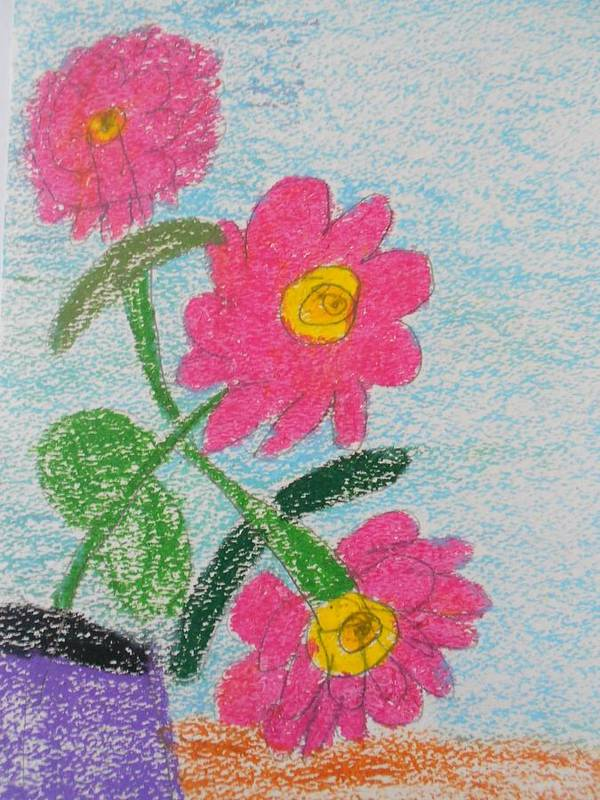 Oil Pastel Paints Poster featuring the pastel Flowers by Epic Luis Art