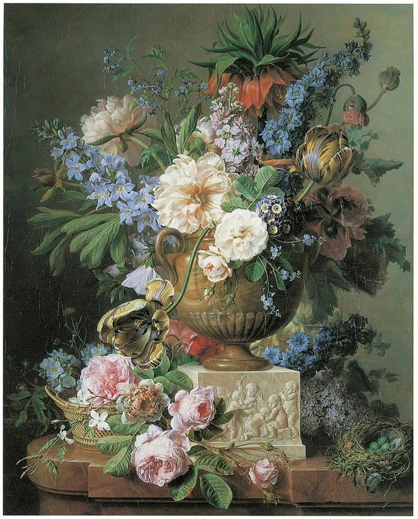 Gerard Van Spaendonck Poster featuring the painting Flowers In An Alabaster Vase by Gerard Van Spaendonck