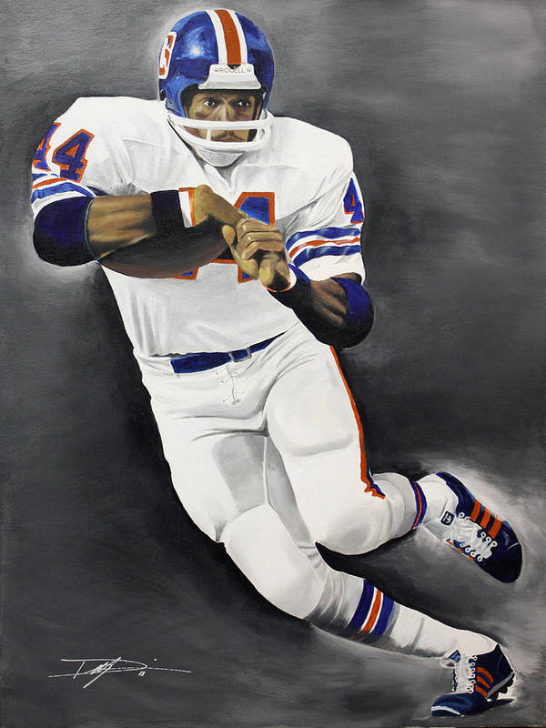 Floyd Little Poster featuring the drawing Floyd Little by Don Medina