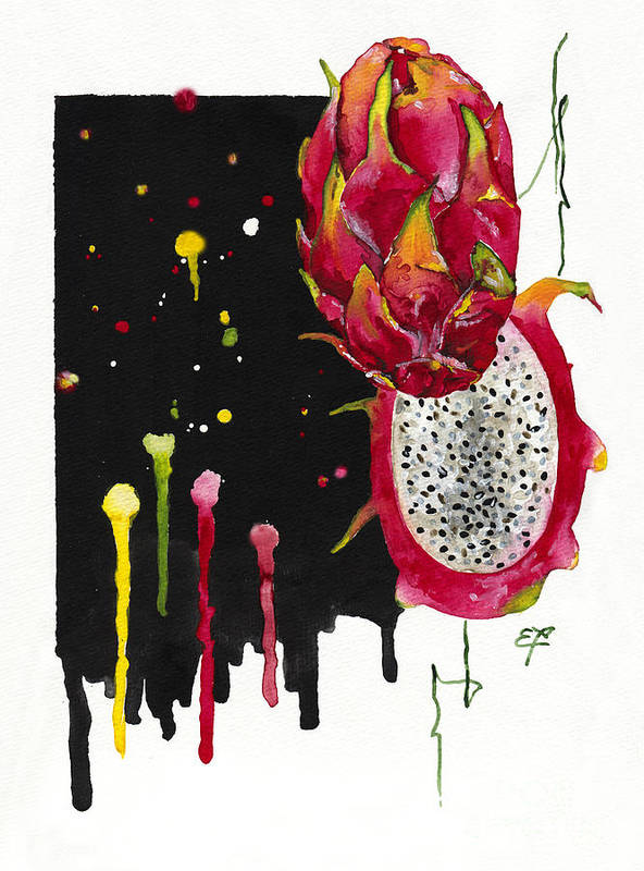 Dragon Fruit Poster featuring the painting Fluidity 01 Elena Yakubovich by Elena Yakubovich