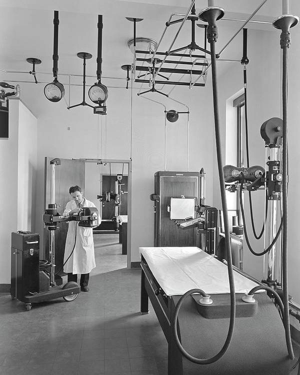 American Poster featuring the photograph Fluoroscopy Room In A Us Hospital 1941 by Library Of Congress
