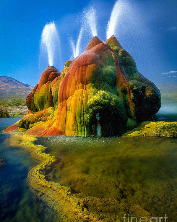 Fly Geyser Poster featuring the photograph Fly Geyser Travertine by Inge Johnsson