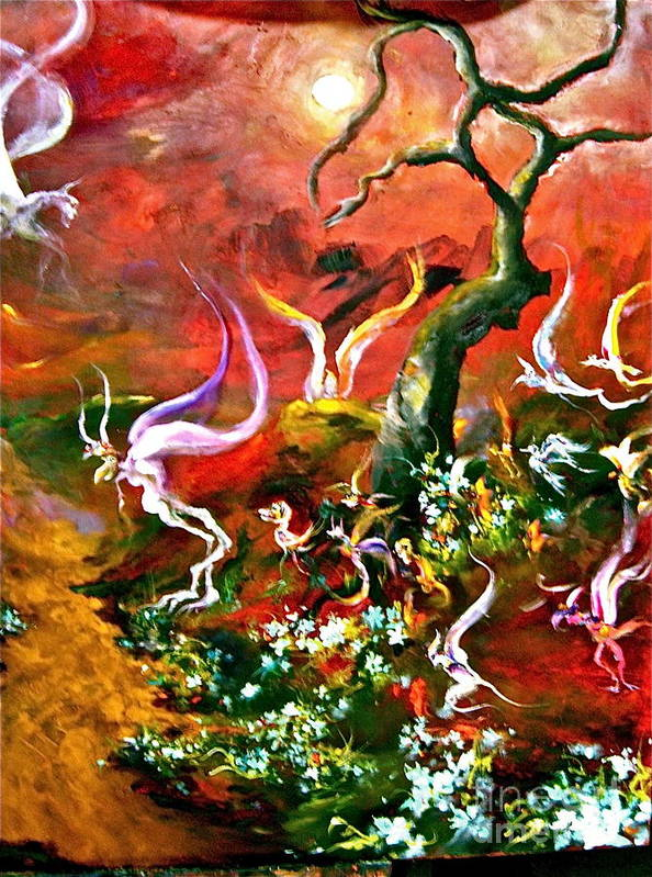 Faries Poster featuring the painting Flying Fairies by Michelle Dommer