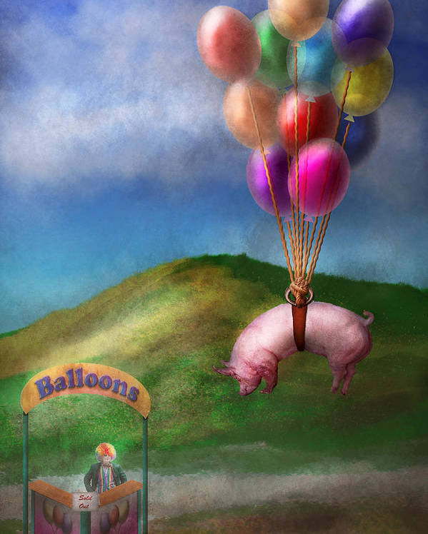 Pig Poster featuring the photograph Flying Pig - Child - How I Wish I Were A Bird by Mike Savad