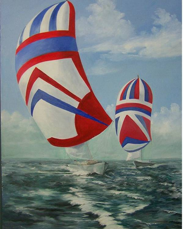 Sailing Ships Poster featuring the painting Flying The Colors by Wanda Dansereau