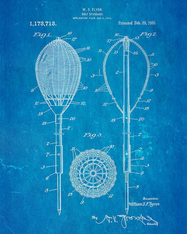 Famous Poster featuring the photograph Flynn Merion Golf Club Wicker Baskets Patent Art 1916 Blueprint by Ian Monk