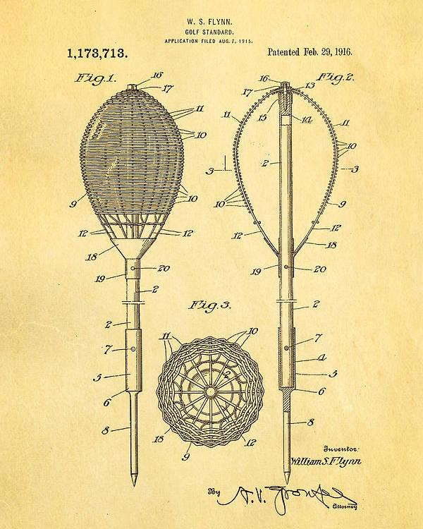 Famous Poster featuring the photograph Flynn Merion Golf Club Wicker Baskets Patent Art 1916 by Ian Monk