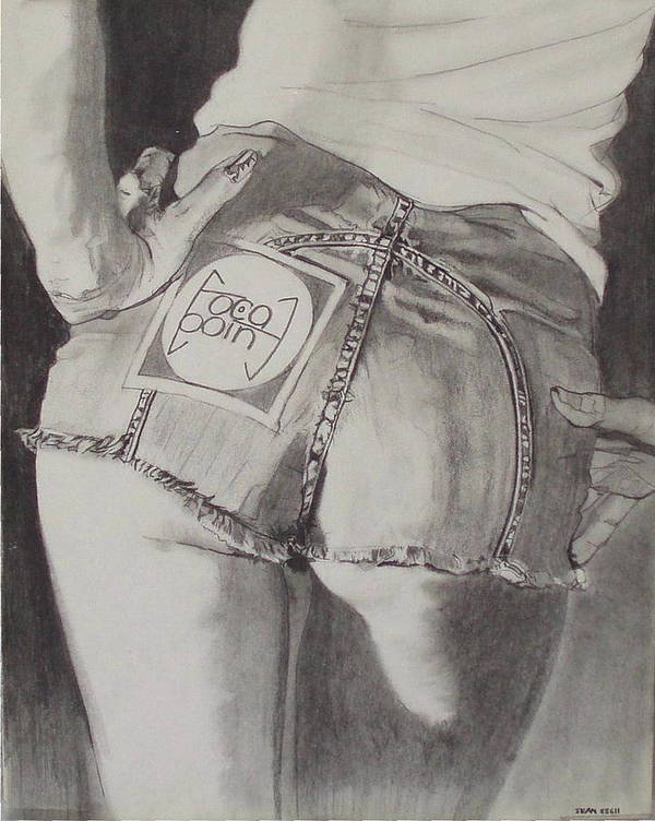 1970s;denim;dungarees;frayed;fringe;seams;cutoffs;hotpants;derierre;female;woman;t Shirt;pinup;fingers;shadow Poster featuring the drawing Focal Point . . Or . . The Will To Live by Sean Connolly