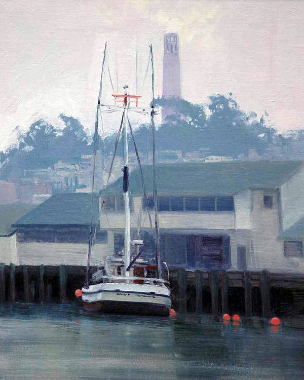 Fog Poster featuring the painting Foggy Day San Francisco by Armand Cabrera