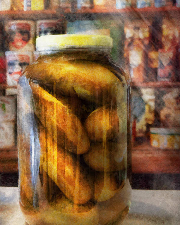Pickle Poster featuring the photograph Food - Vegetable - A Jar Of Pickles by Mike Savad