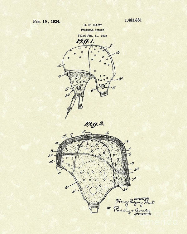 Hart Poster featuring the drawing Football Helmet 1924 Patent Art by Prior Art Design