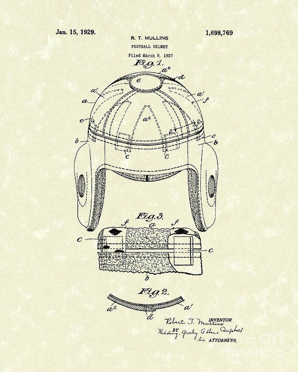 Mullins Poster featuring the drawing Football Helmet 1929 Patent Art by Prior Art Design