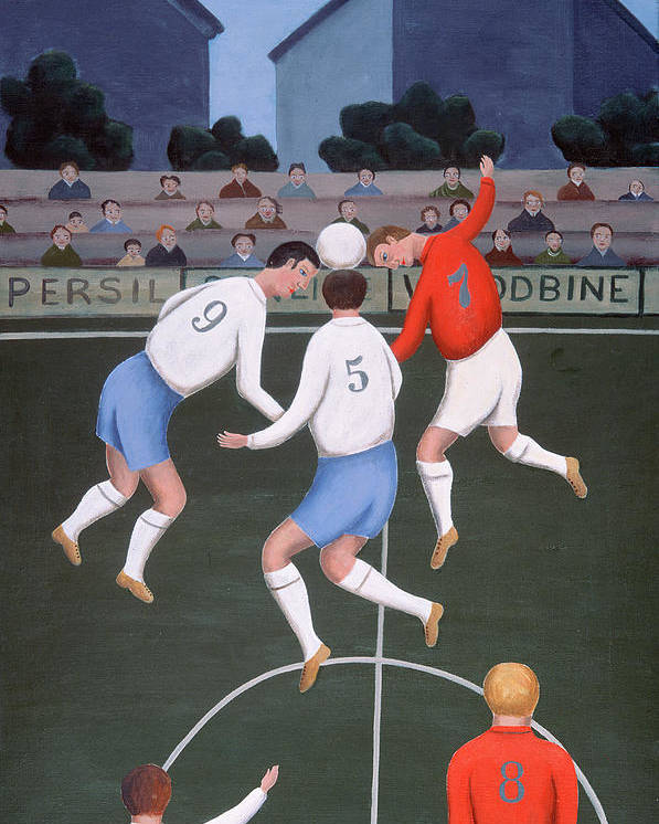 Match; Header; Spectator; Fan Poster featuring the painting Football by Jerzy Marek
