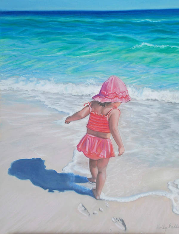 Realistic Poster featuring the pastel Footprints In The Sand by Holly Kallie