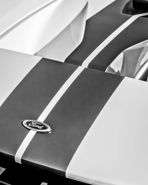Ford Gt Hood Emblem Poster Featuring The Photograph Ford Gt Hood Emblem Bw By Jill