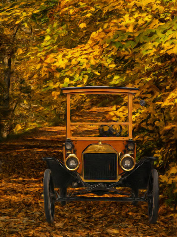 Ford Model T Poster featuring the painting Ford by Jack Zulli