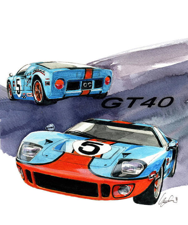 Ford Gt Poster Featuring The Painting Ford Gt By Yoshiharu Miyakawa