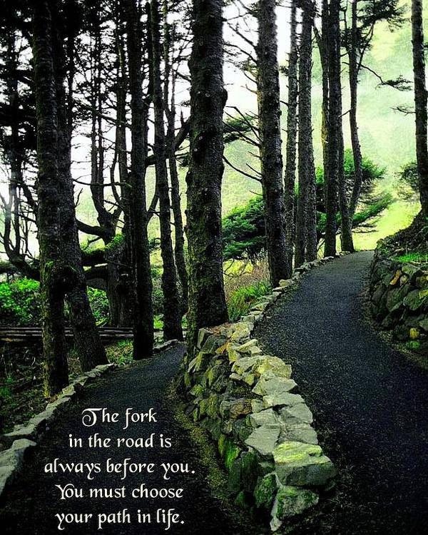 Quotation Poster featuring the photograph Fork In The Road by Mike Flynn