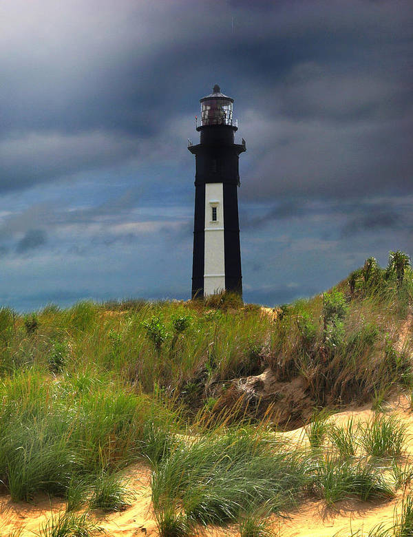 Lighthouse Poster featuring the photograph Fort Story Lighthouse by Cindy Haggerty