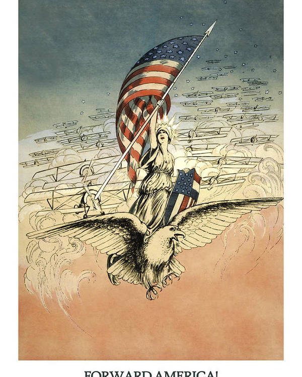 America Poster featuring the drawing Forward America by Aged Pixel