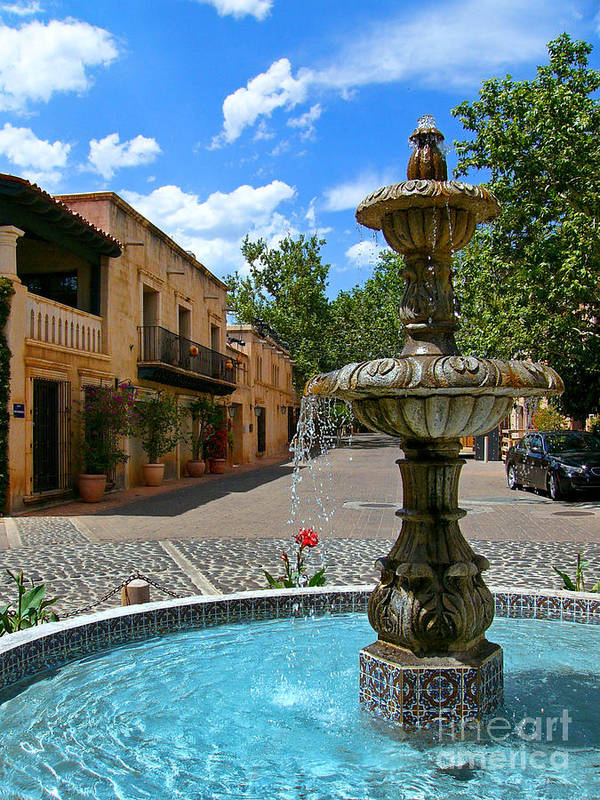 Tlaquepaque Poster featuring the photograph Fountain At Tlaquepaque Arts And Crafts Village Sedona Arizona by Amy Cicconi
