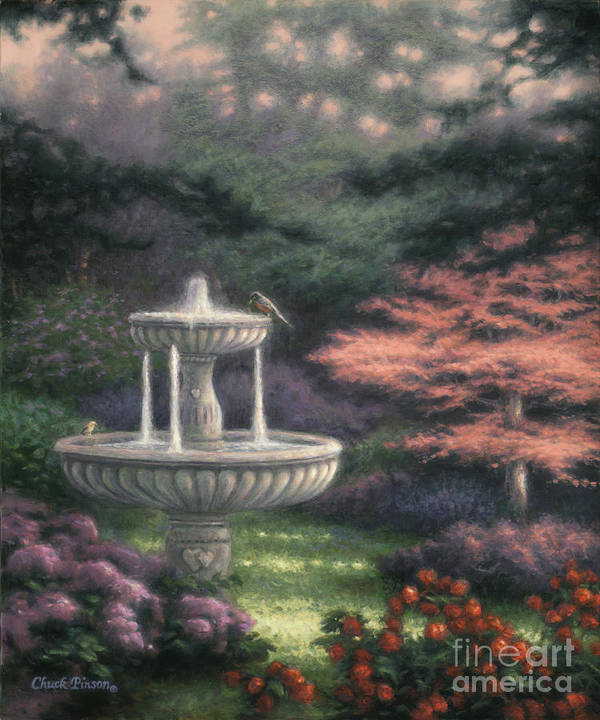 Fountain Poster featuring the painting Fountain by Chuck Pinson