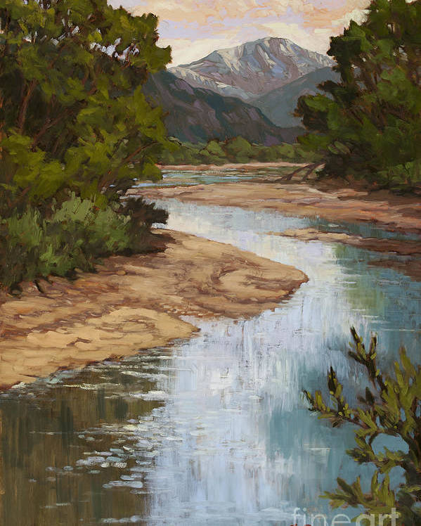 Pikes Peak Poster featuring the painting Fountain Creek by Chula Beauregard