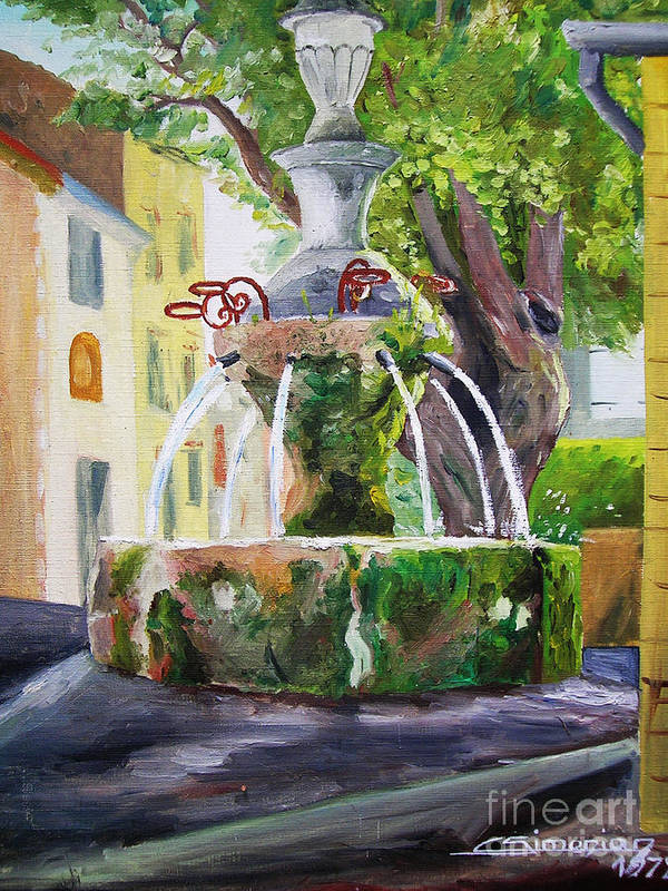 Fountain Poster featuring the painting Fountain In Provence by Christian Simonian