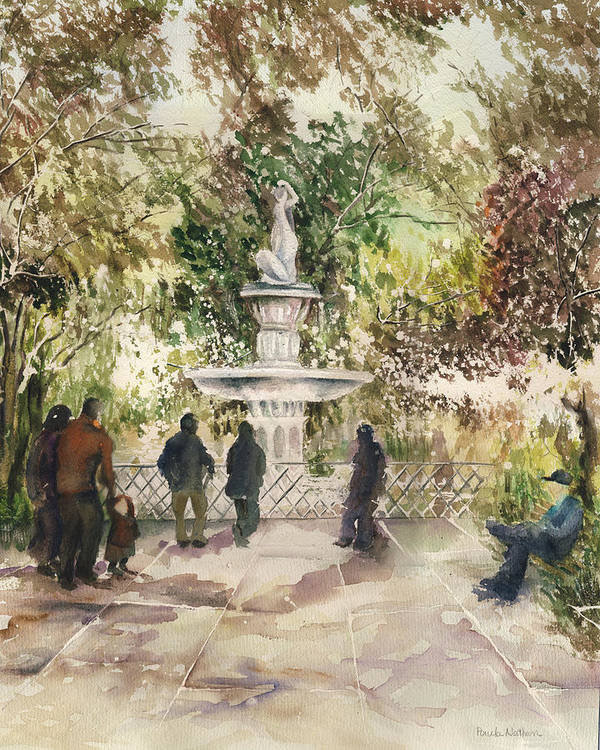 Watercolor Poster featuring the painting Fountain In The Park by Paula Nathan