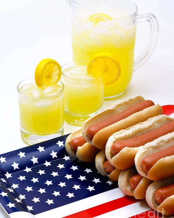 4th Of July Poster featuring the photograph Fourth Of July Hot Dogs And Lemonade by Amy Cicconi