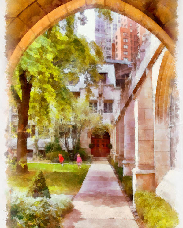 Churchyard Poster featuring the painting Fourth Presbyterian - A Chicago Sanctuary by Christine Till