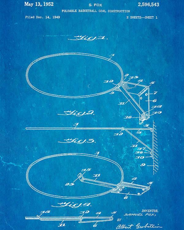 Basket Ball Poster featuring the photograph Fox Foldable Basketball Goal Patent Art 1952 Blueprint by Ian Monk