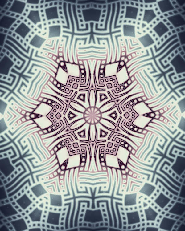 Abstract Poster featuring the digital art Fractal Snowflake Pattern 1 by Hakon Soreide