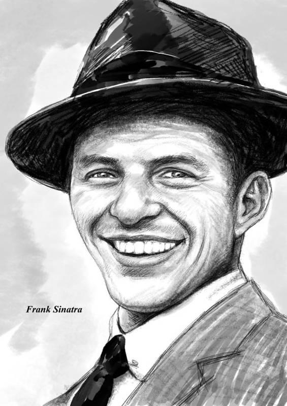 Frank Sinatra Art Drawing Sketch Portrait Poster featuring the painting Frank Sinatra Art Drawing Sketch Portrait by Kim Wang