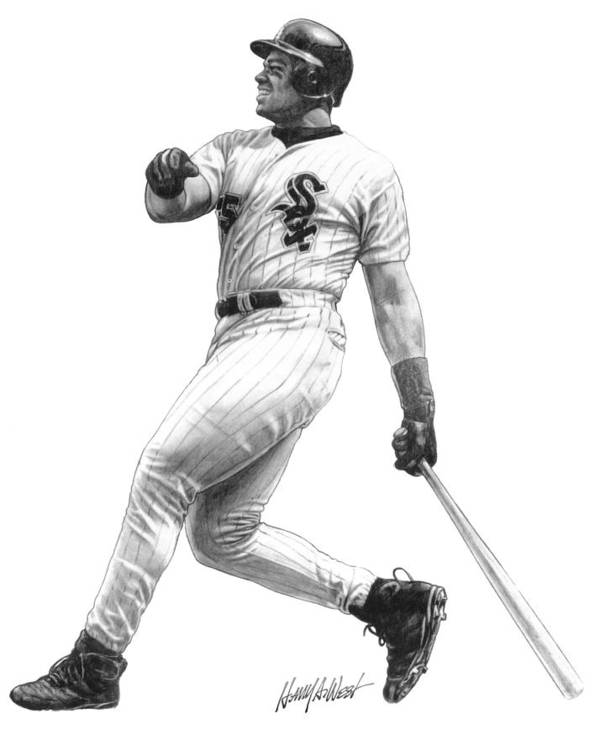 Frank Thomas Poster featuring the drawing Frank Thomas by Harry West
