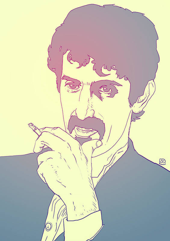 Zappa Poster featuring the drawing Frank Zappa by Giuseppe Cristiano